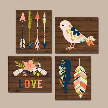 TRIBAL Nursery Artwork- Woodland Girl Wall Art- Feathers Arrows Bird Love- CANVAS or Prints- Floral Baby Girl Pictures- Set of 4 -Crib Decor