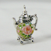Small Pink Rose on Clear Sterling Silver  Teapot Charm