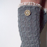 SALE Gray Knee Hi Boot Socks Legwarmers Boot Toppers With Off White Lace and Button