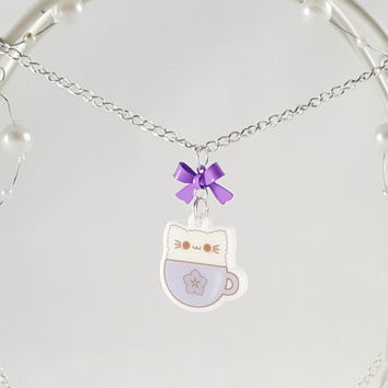Kitty Cat Latte Necklace - Coffee Necklace - Coffee Lover - Latte Charm - Charm Necklace - Kawaii Necklace - Anime Necklace