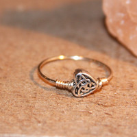 Heart Ring - Celtic Heart Thin Silver Ring - Ring - knuckle Stacking Ring - Heart Wire Ring - Heart Rings