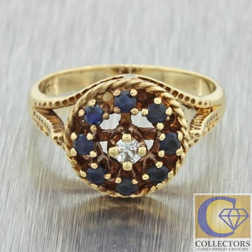 Antique Vintage Estate 14k Solid Gold .23ctw Sapphire Diamond Cluster Ring