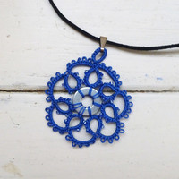 Tatted lace necklace, royal blue pendant, women's accessories, women's jewelry, handmade necklace, steampunk, victorian era, lace jewelry