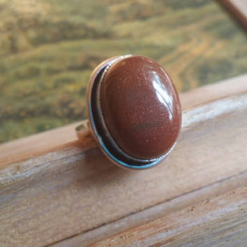 Pre HOLIDAY SALE Sun Sitara Gemstone Statement  Boho Gypsy Style Ring  Cocktail Ring Size 5 1/4 Ring Sunstone Ring .925 Silver Ring