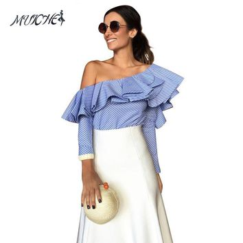 MUICHE  One shoulder ruffles blouse shirt women tops autumn Casual blue striped shirt Long sleeve cool blouse winter blusas