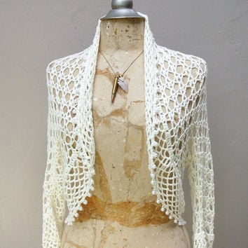 Spring Sale crochet lace sweater with pearls / vintage wedding bolero shrug sweater blouse duster cardigan