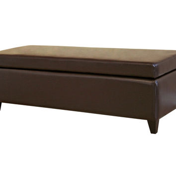 Black Full Leather Storage Bench Ottoman