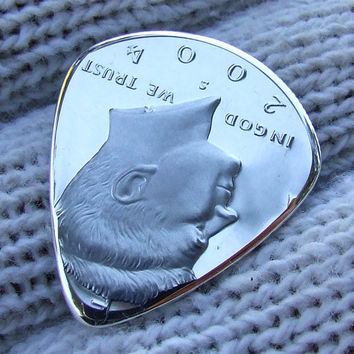 Custom Coin Guitar Pick - Handmade  2004  Silver Half Dollar