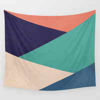 Geometric Stripes Wall Tapestry by Ashley Hillman