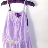 Romantic Prairie Country Girl Wear. Shabby Bohemian. Lavendar. Peasant top. Camisole.Pansies and Violets