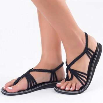 Women Summer Vintage Gladiator Shoes Beach Lace up Sandals Flat Heels Slippers Ladies Beach sandalias