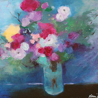 "Floral Still Life, Acrylic Painting, Red, Pink, White Roses, Abstract Flowers, ""Roses in a Blue Room"""