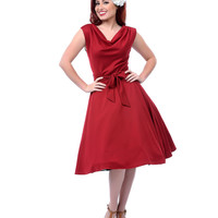 Red 1950s Style Haute Stephanie Swing Dress