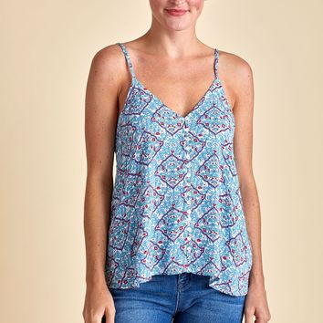 Love Stitch Button Front Printed Tank