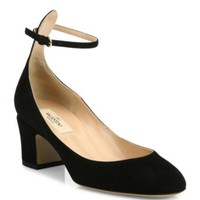 Valentino - Star-Studded Leather Ankle-Strap Block Heel Pumps