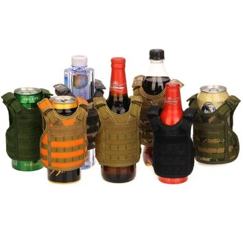 Tactical Beer Military Molle vest mini Miniature Wine bottle cover vest Beverage Cooler Adjustable shoulder straps