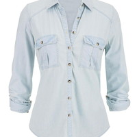 denim button down boyfriend shirt in light wash