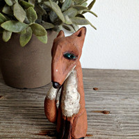 Stoneware Fox Totem Animal Sculpture, OOAK