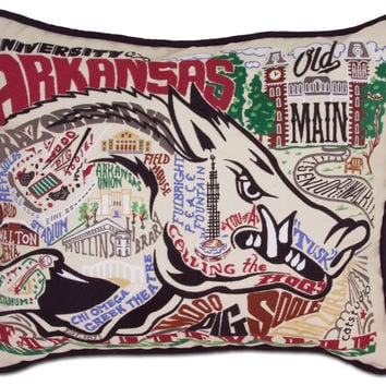 University of Arkansas Embroidered Pillow