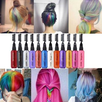 13 colors Fashion 1 pc  Colorful Temporary Hair Color Dye hair colored Disposable Crayons Non-toxic Fast DIY Hair Color Pastels