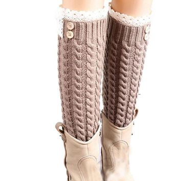 Womens Winter Knitted Leg Warm Soft Wool Lace Knitted Women Socks Thigh High Socks Leggins Mujer Warmer