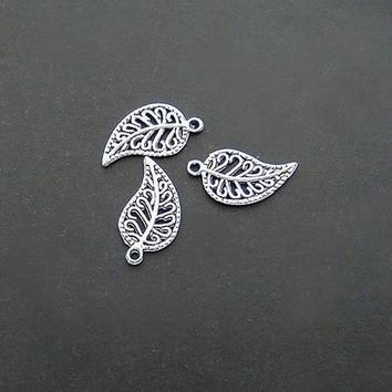 (2D52) 16*10MM silver leaf component pendant Fit Handcraft DIY Fashion Jewelry Findings,Accessories,metal charm,Alloy Antique