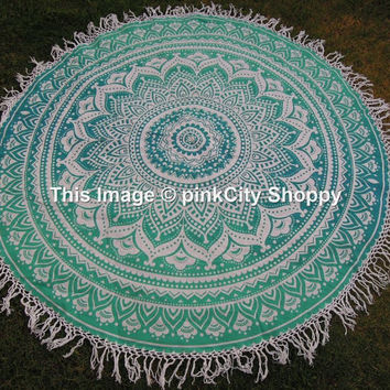 Ombre Round Mandala Tassle Fringe Beach Throw Roundie Yoga Mat Cover Mandala Printed Cotton Table Cover Kitchen Table Cloth Wall Hanging
