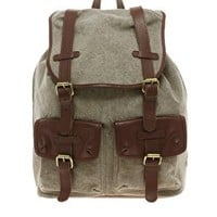 ASOS Canvas And Leather Backpack at asos.com