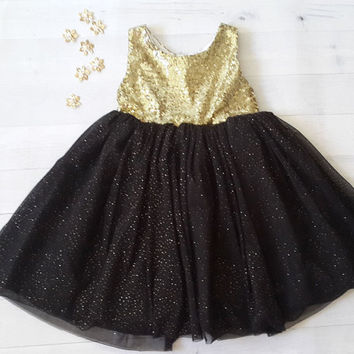 Sparkling gold sequined flower girl's dress, gold and black dress, birthday dress, girl christmas dress
