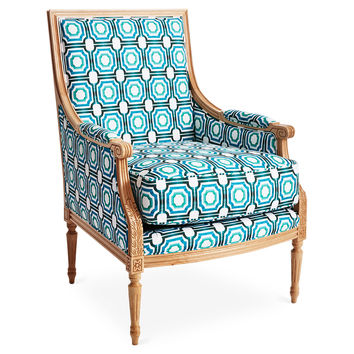 Taylor Burke Home, Phillip Cotton Accent Chair, Turquoise, Accent & Occasional Chairs