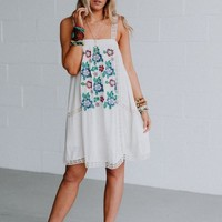 Angelique Embroidered Floral Tank Dress - White