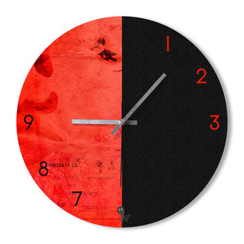 Wall Clock black and red clock home decoration wall art bedroom living room office clock snowbald