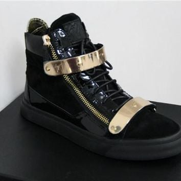 QIYIF Giuseppe Zanotti Black Velvet Leather High-top Sneakers