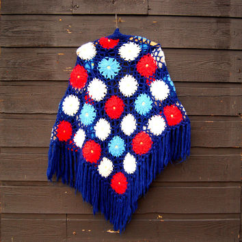 70s Crochet Shawl, OOAK Granny Square Afghan, 60s 70s Hippie Shawl, Hand Crochet Shawl Wrap Poncho, Red White Blue 3D Floral Fringe Scarf
