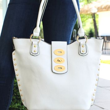 Stud Side & Gold Twist Lock Purse