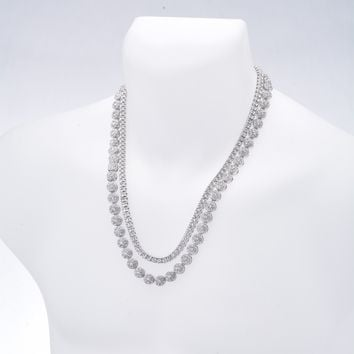 "Jewelry Kay style Men's Fashion Hip Hop Iced Out 24"" Flower Chain & 22"" Tennis Chain Necklace Set"
