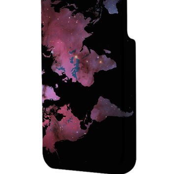 Best 3D Full Wrap Phone Case - Hard (PC) Cover with World Map Galaxy Design