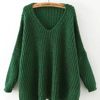 Green V Neck Drop Shoulder Sweater