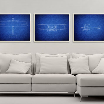 Set of 3 Prints Vintage Reproduction Vickers Vimy a British heavy bomber 1917, Airplane Art Print, Plane Art, Blue Art, Nursery Decor *33*