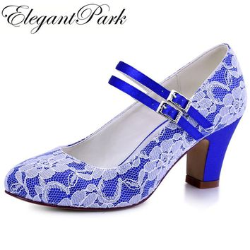 HC1701-C Woman Wedding Bridal Shoes Blue block Heel Closed Toe Mary Jane Lace Bride Lady Bridesmaid Prom Party Pump Purple Black