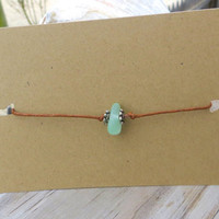 Dainty Sea Glass Bracelet or Anklet  Adjustable Sizing