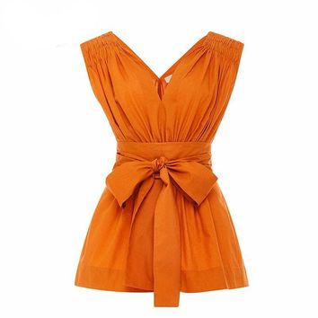 Orange Solid Bow Sashes Shirt