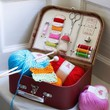 Knitting And Sewing Kit With Vintage Style Case