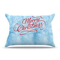 "Snap Studio ""Merry Christmas"" Typography Pillow Case"