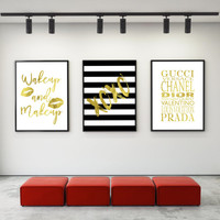 Printable art Fashion SET 3 Digital Prints,Printable quotes,Digitalart,Digital items,Bedroom print,Bedroom decor,Bathroom decor,Wall decor