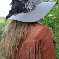 Vintage feather hat grey feathers jewelled hat 100 percent wool floppy