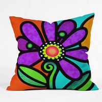 Steven Scott Cosmic Daisy In Purple Throw Pillow