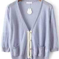 Grey V Neck Pockets Long Sleeve Knit Cardigan