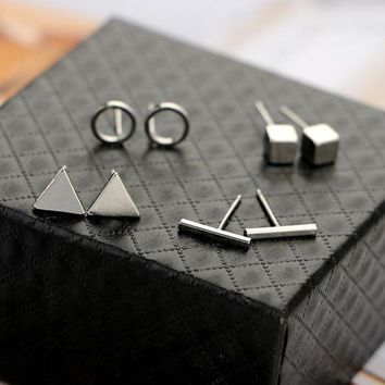 ESBONFI BeautyWay Trendy 4pair/Set Geometric Triangle Round Square T Bar Stud Earring for Women Fashion Silver Gold Black Alloy Earrings