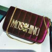 MOSCHINO New Fashionable Velvet Metal Chain Women Shoulder Bag Crossbody Bag Satchel Burgundy
